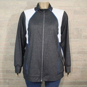 Lane Bryant Active Gray White Zip Track Jacket